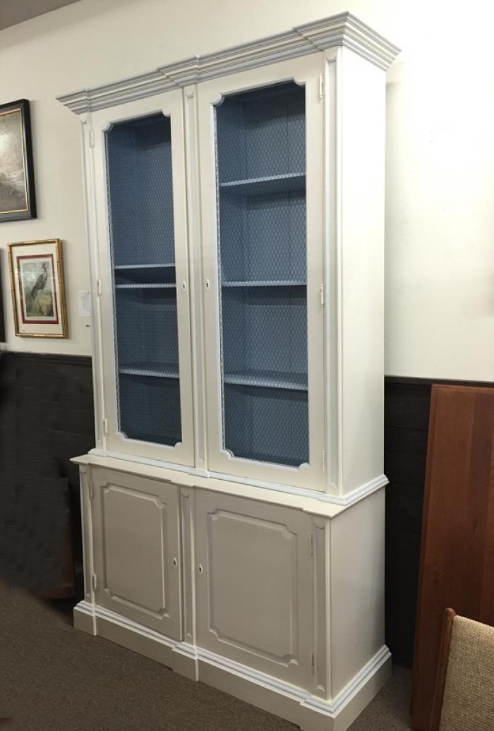 Chippendale style white and blue bookcase cabinet
