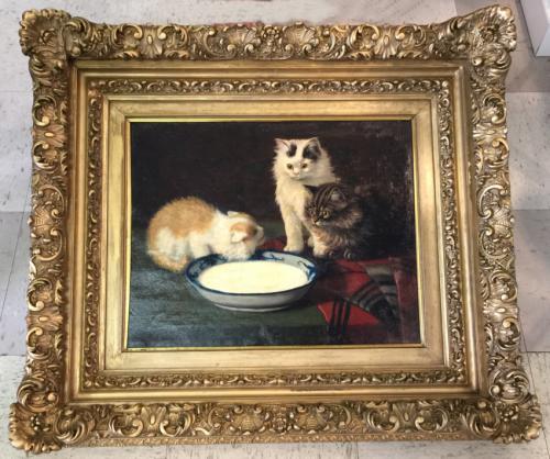 Three kittens oil painting by Sidney Lawrence Brackett