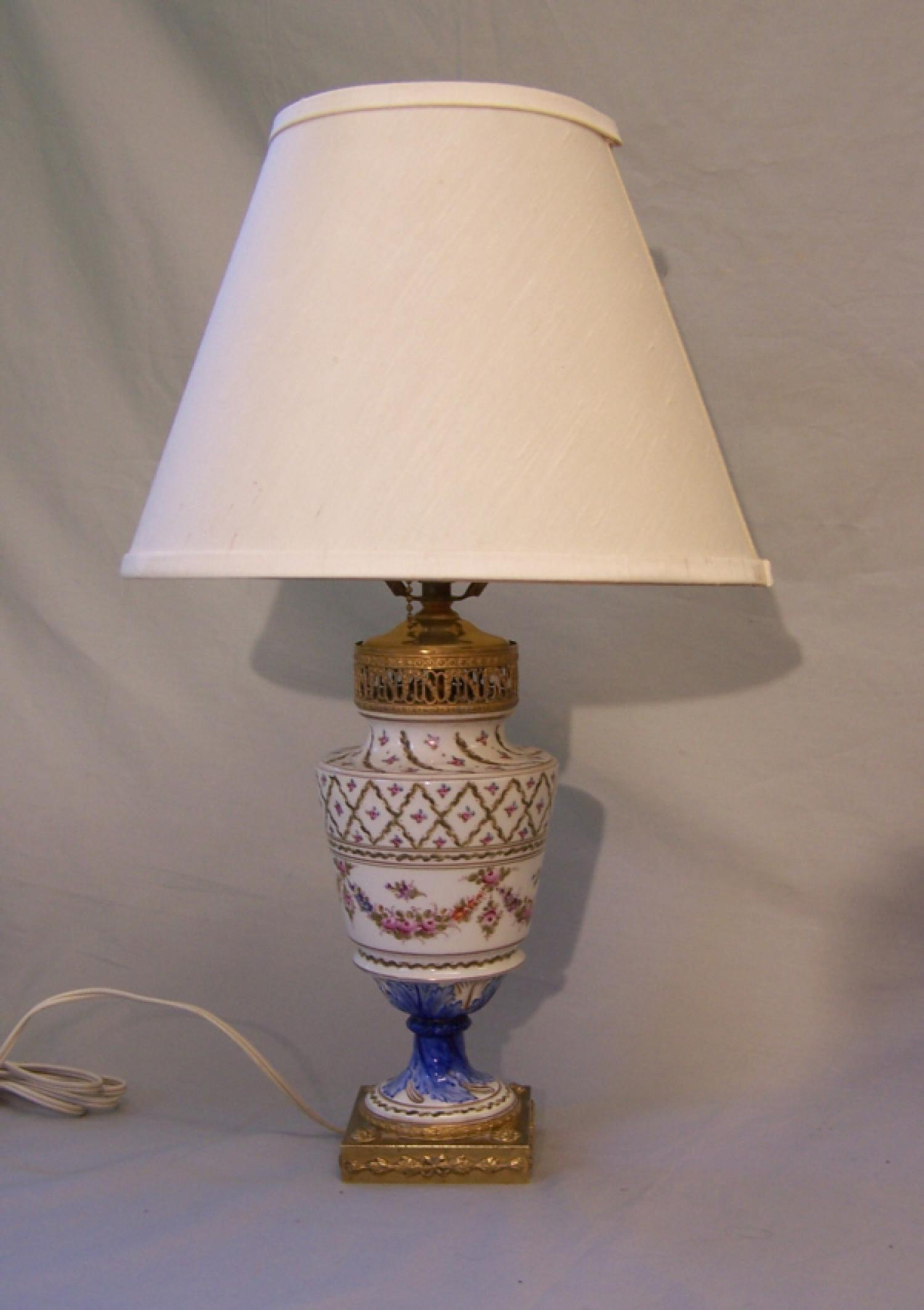 Vintage Hand Painted French Porcelain Lamp With Gilt