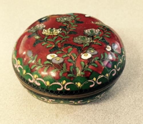 Chinese melon form cloisonne trinket box c1800
