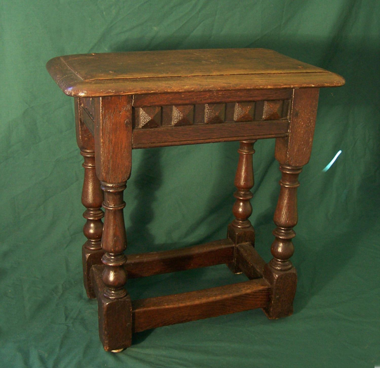 Antique 19thc English oak joint stool