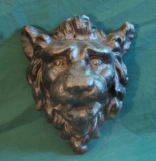 Antique cast iron Architectural roaring lion head mask c1860