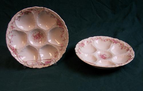 Matched pair of porcelain oyster plates c1900