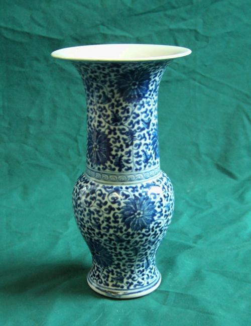 19thc Chinese blue and white export porcelain vase