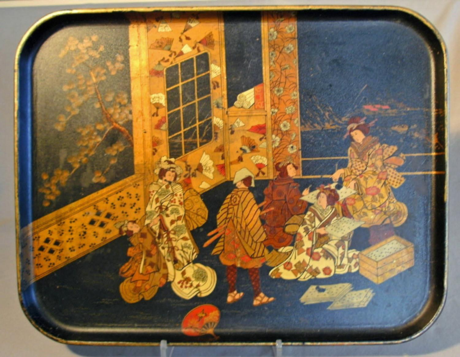 Japanese black lacquered  large serving tray c1870