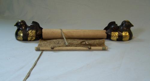 Pair of  Asian gilt bronze bird scroll holders c1950