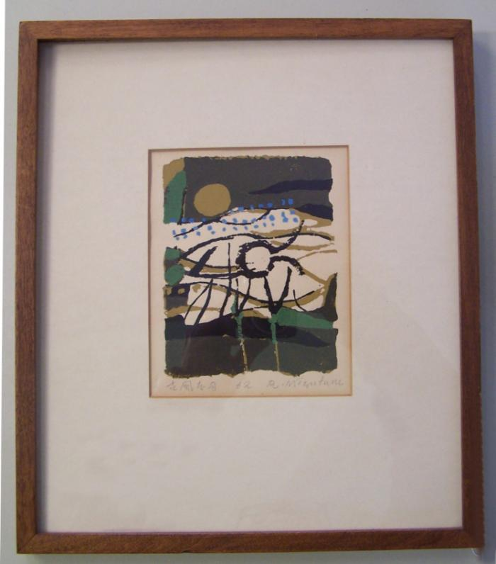 Mizufune Rokushu colored wood block print c1962