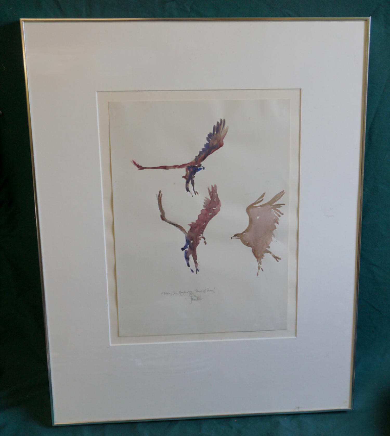 John W Mills signed Birds of prey watercolor c1976