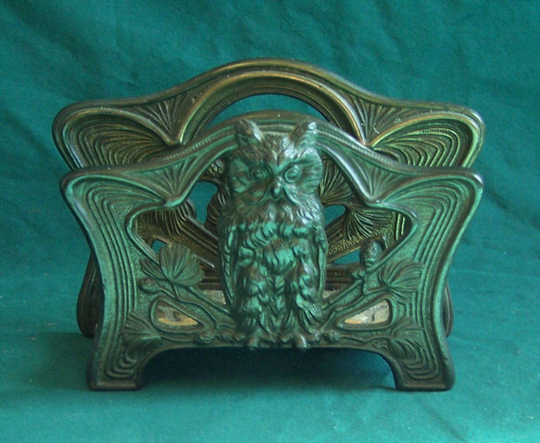 Bradley Hubbard Art Nouveau owl desk top letter holder c1880