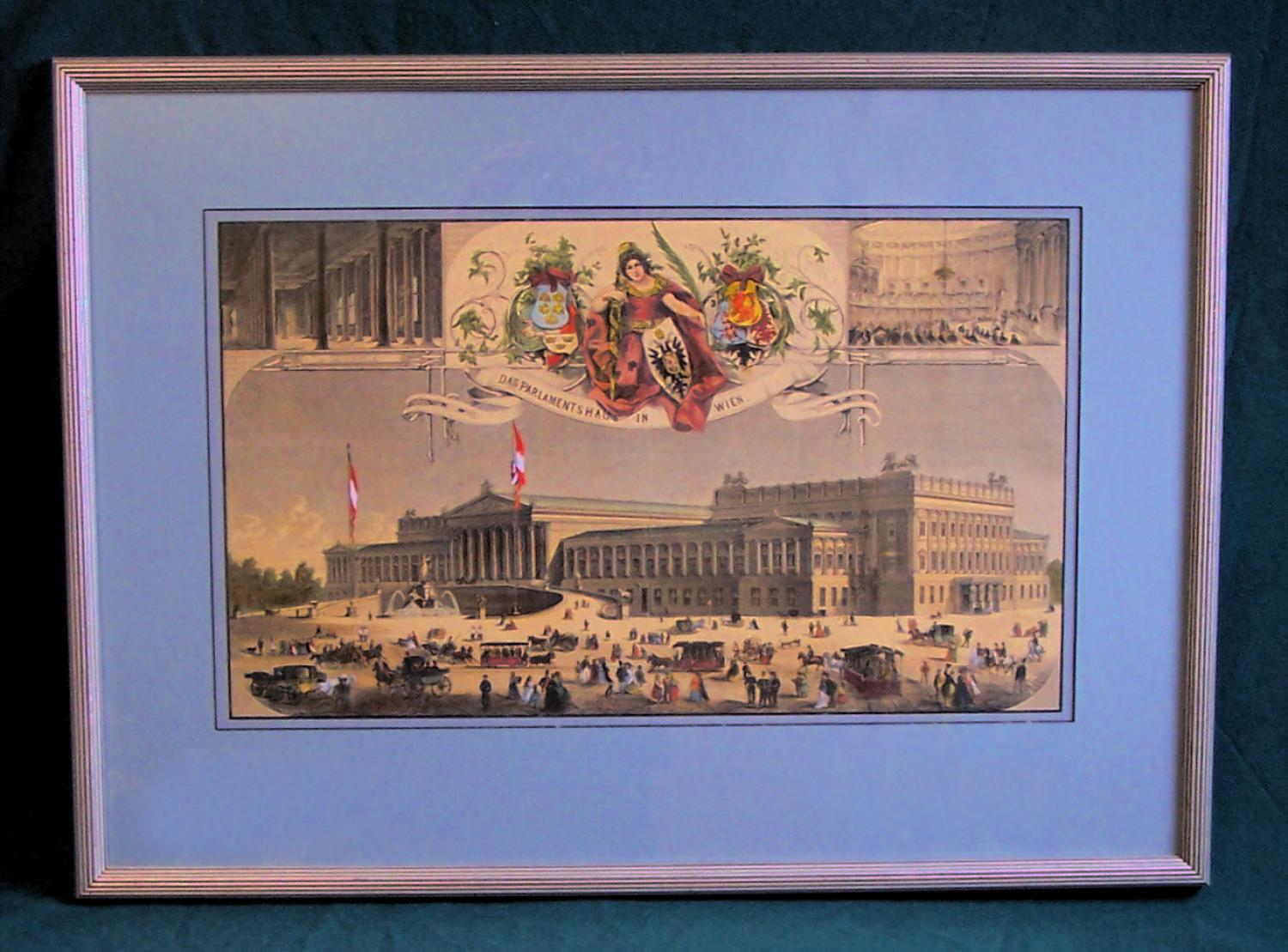 Austrian Parliament Vienna hand colored etching c1870