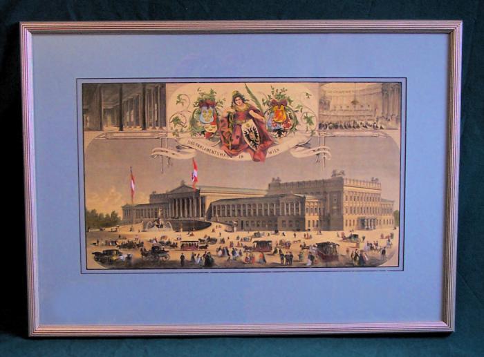 Austrian Parliament Vienna hand colored etching c1870