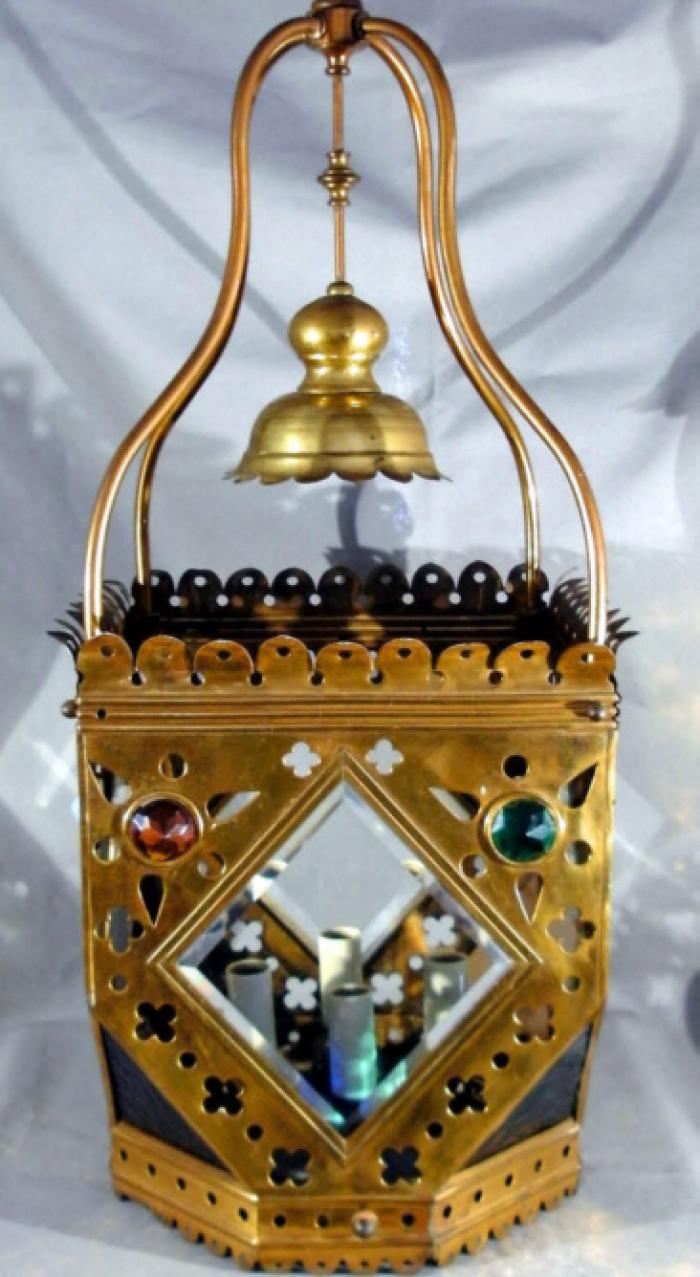 English Gothic Revival pierced brass hanging lantern c1920