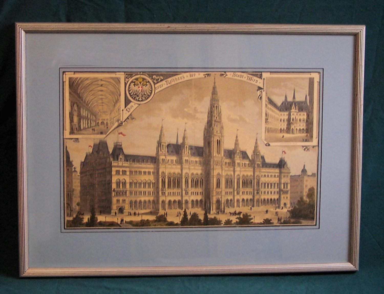 Etching of the Vienna City Hall 1883 by Berndl