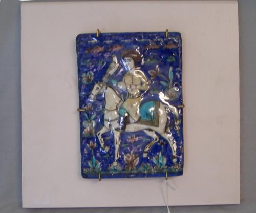 18thc  Persian tile horseman with his falcon  Iran