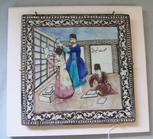 Antique early 19thc Persian tile depicting glass cutters