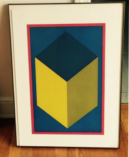 Sol LeWitt aquatint of a cube in a square