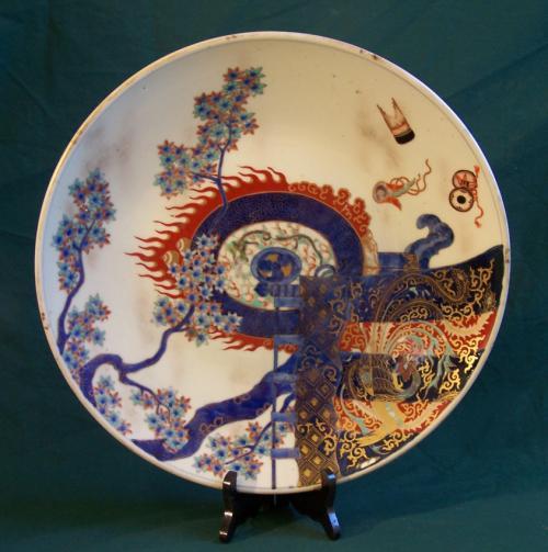 Antique Japanese Fukagawa Imari gilt enamel charger c1860