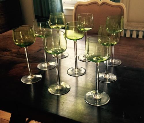 Set of 9 Baccarat green and clear wine glasses