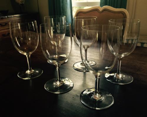Set of six Baccarat clear wine glasses