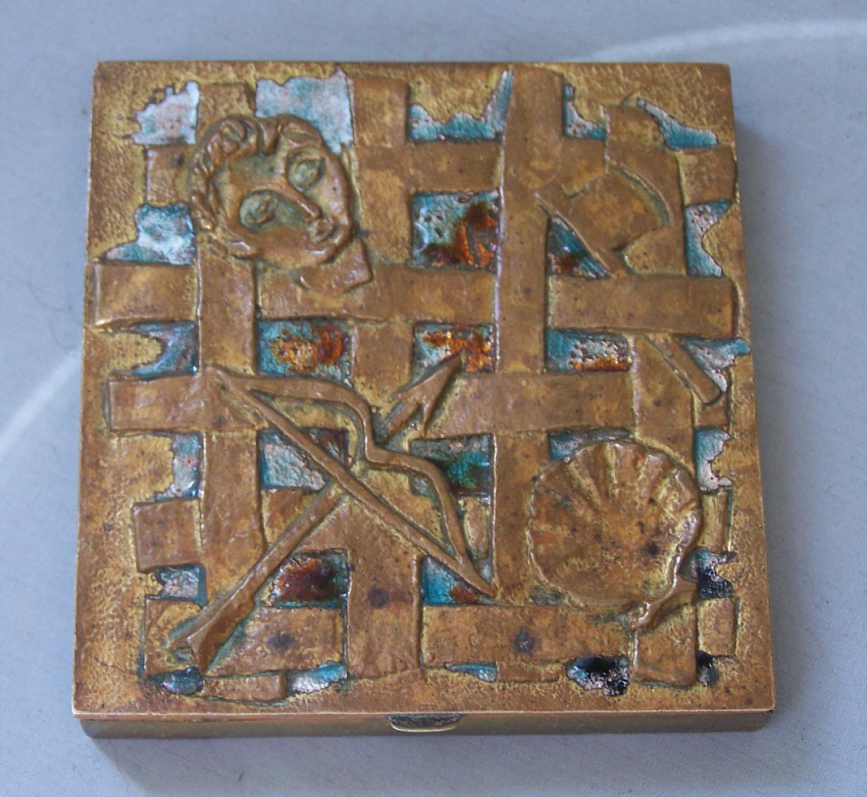 Line Vautrin Holopherne Vers bronze and enamel compact c1947
