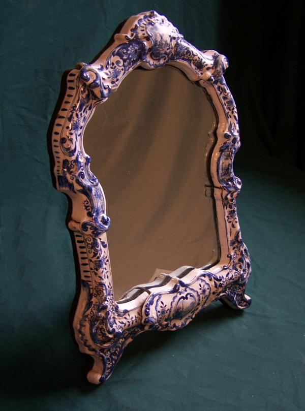 Early Delft Ceramic Blue And White Frame With Mirror C1800