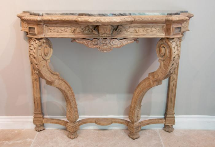 Antique English carved and bleached console table with shaped marble top