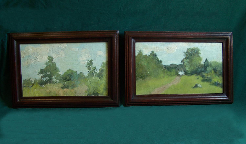 Pair of Jennie Burr landscape oil paintings on canvas c1900