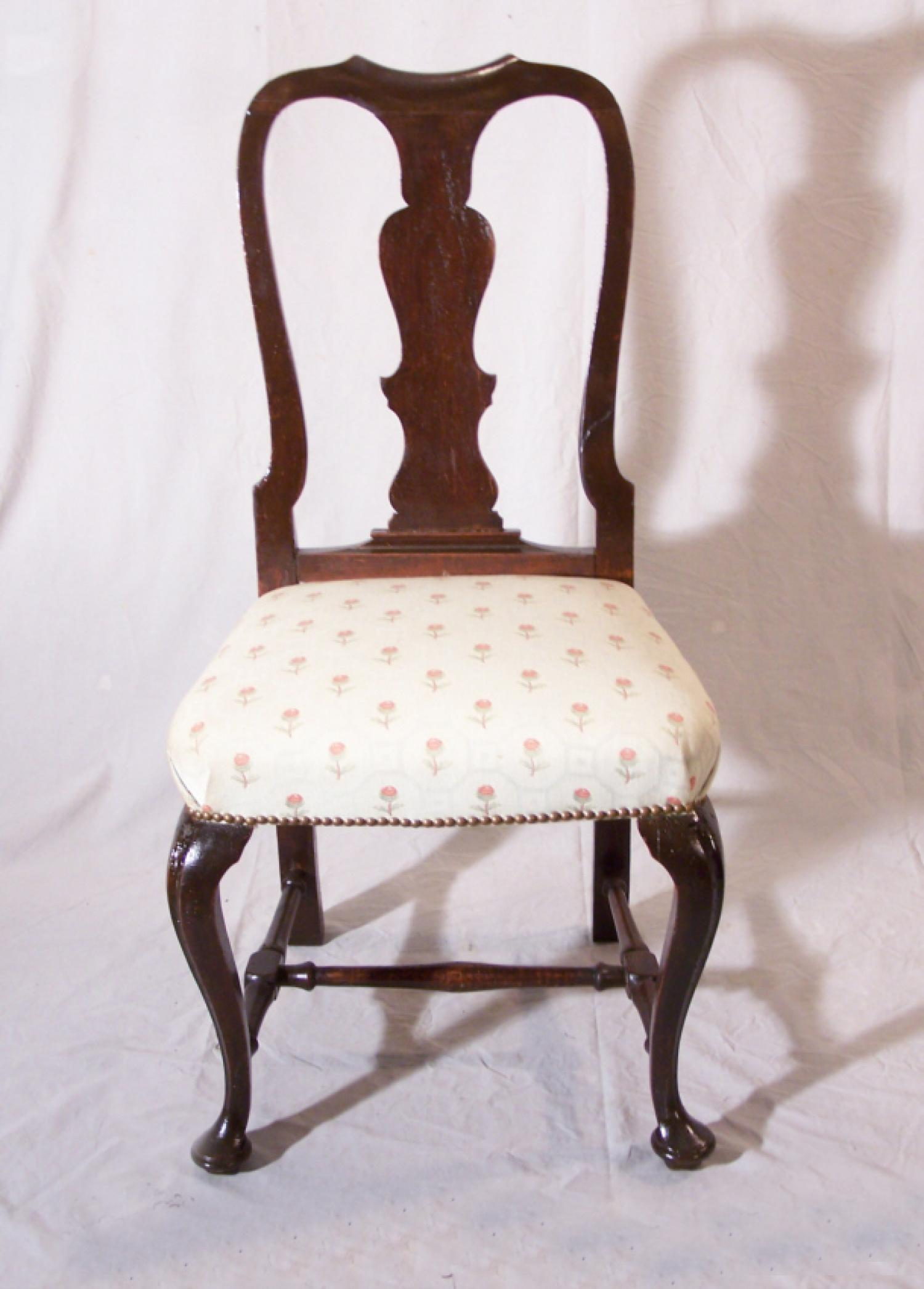 Early English Queen Anne upholstered side chair c1750