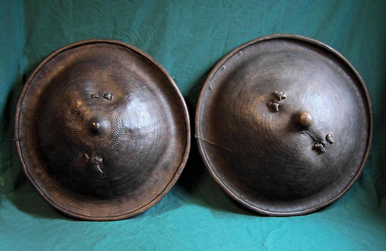 Two antique Ethiopian leather shields c1900