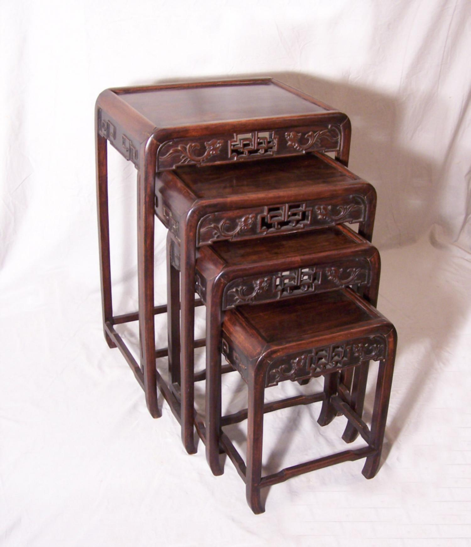 Antique set of Chinese stacking tables c1870