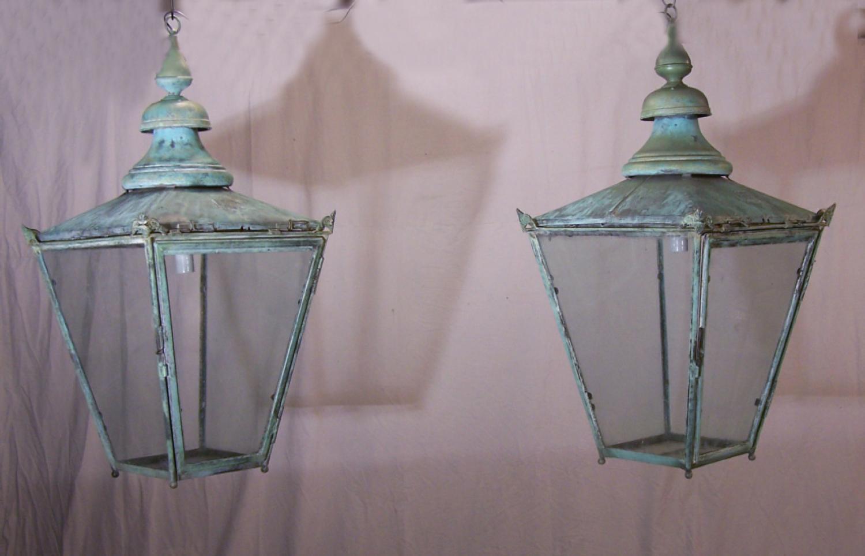 Antique pair of copper pole lanterns by Wm Edgar c1900