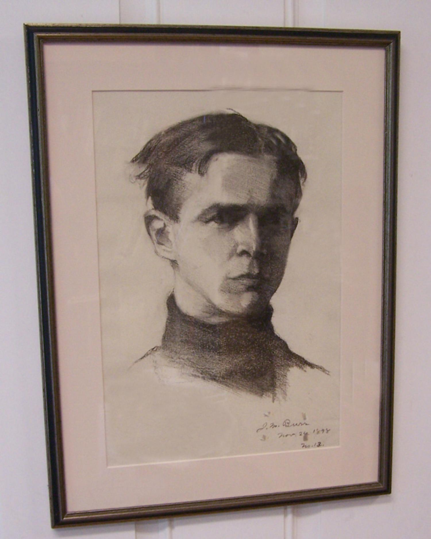 Jennie Burr 1898 charcoal portrait of a young man