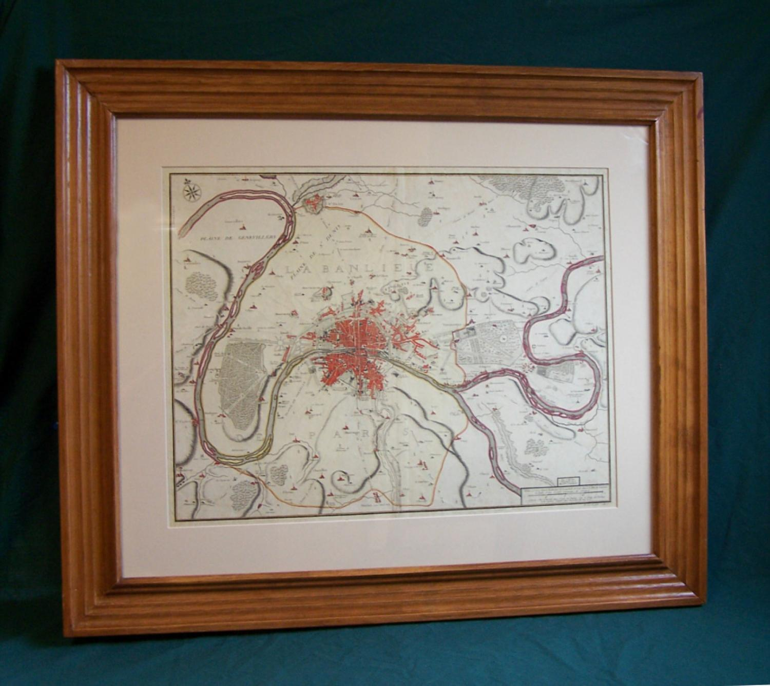 Geographic 1717 map of Paris by P Starckman