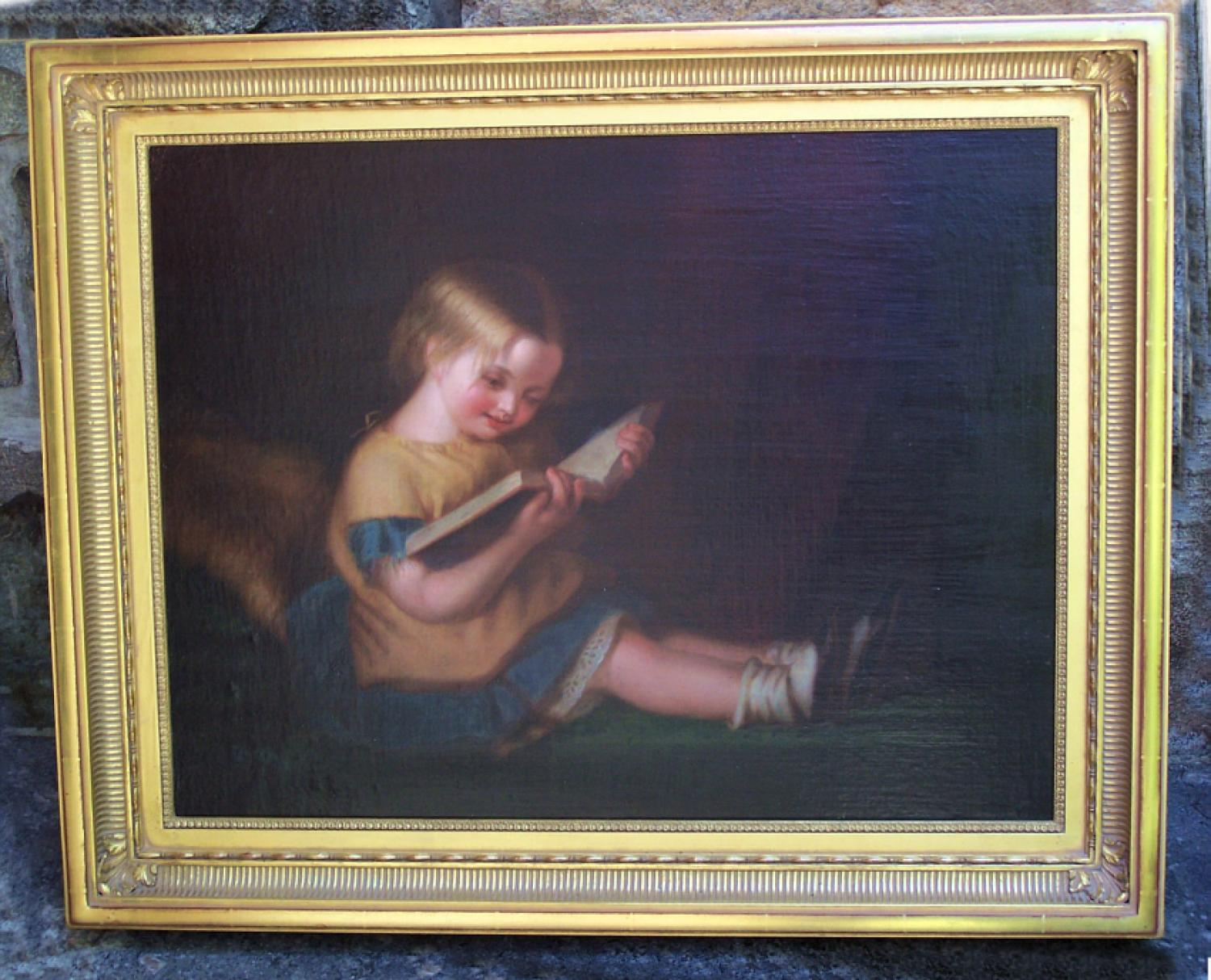 Antique 19thc oil painting of a little girl reading a book