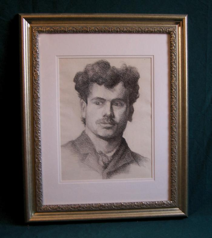 Antique charcoal drawing of a young gentleman by Jennie Burr