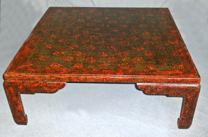 Japanese Wakasa lacquered square shape low tea table c1900