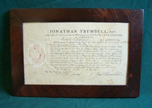Jonathan Trumbull 1801 Signed Militia Document