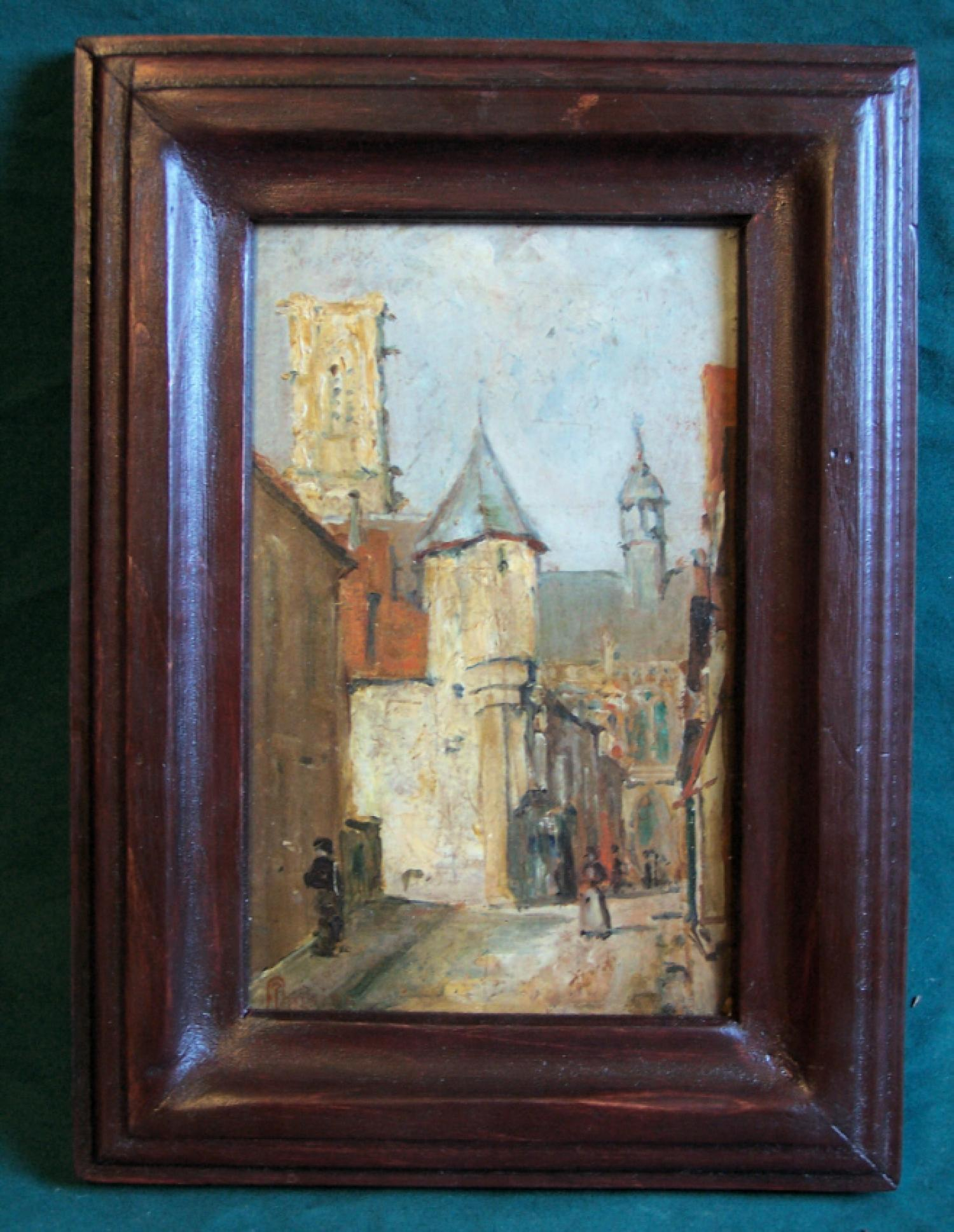 19th century European oil painting of village street signed Maguire