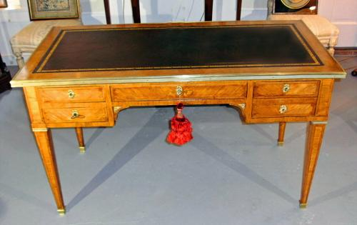 Louis XVI style inlaid light wood bureau plat or desk c1880