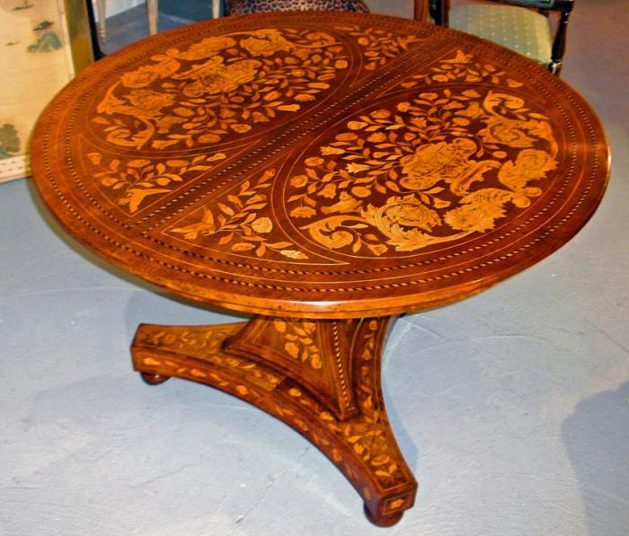 Dutch baroque style walnut and fruitwood marquetry center table c1849