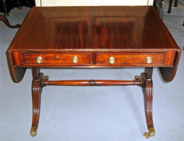 English George IV style figured mahogany sofa table or desk c1840