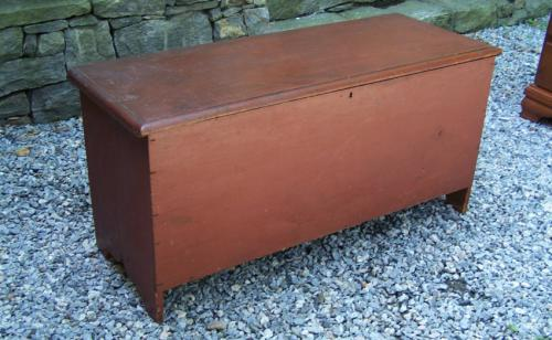 Antique Early American red painted blanket chest c1740