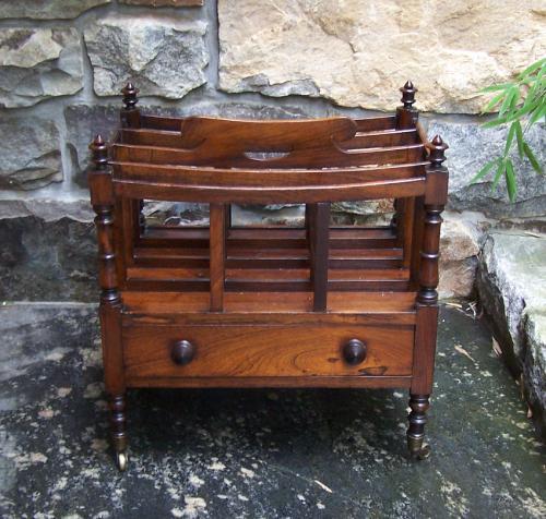 Antique English Regency period rosewood canterbury