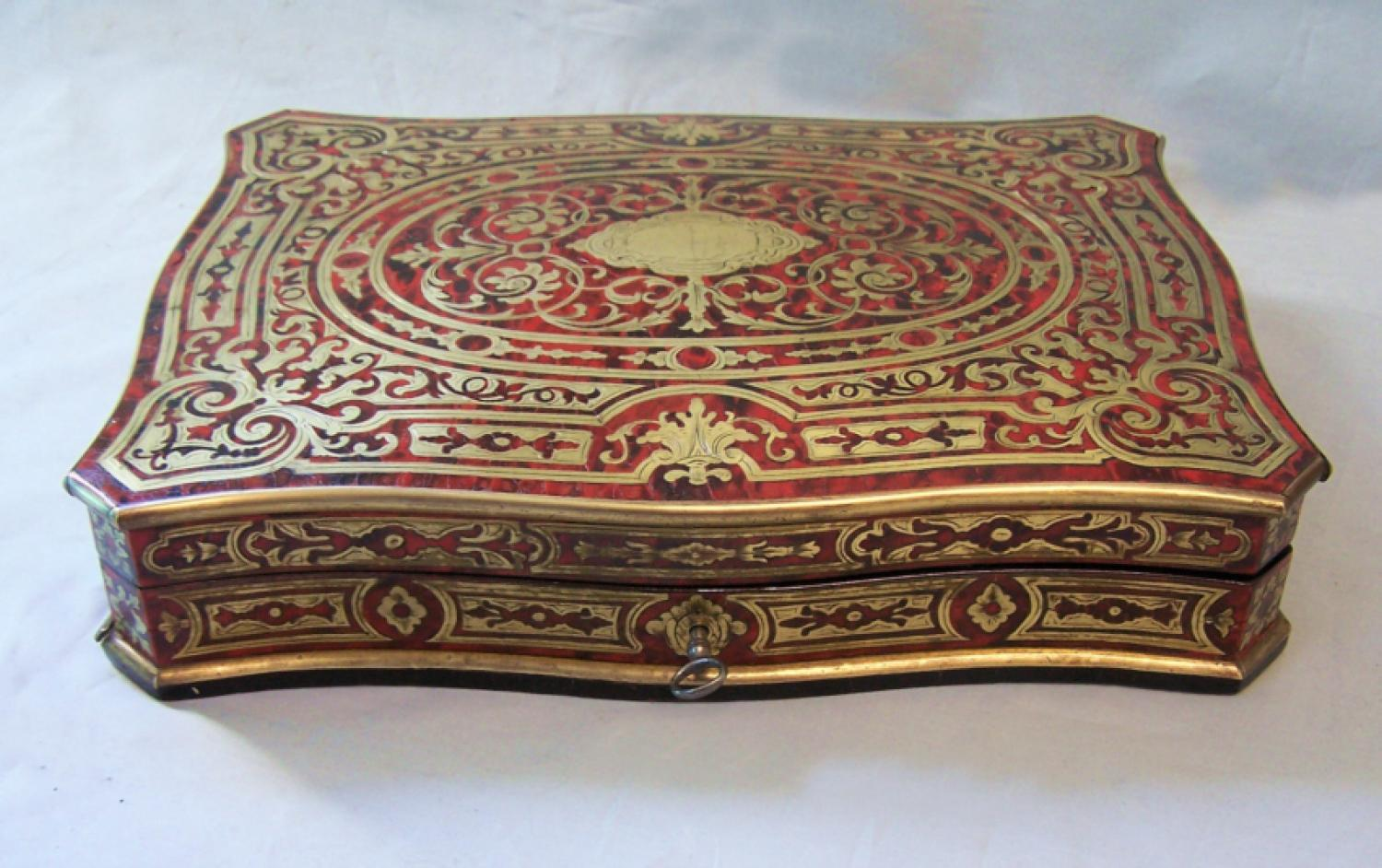 Antique French boulle work game box