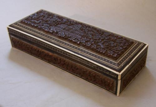 Antique Anglo India sandalwood glove box c1855