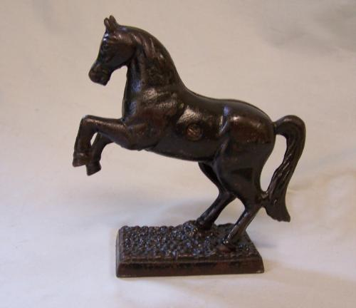 Antique cast iron prancing horse penny still bank c1900