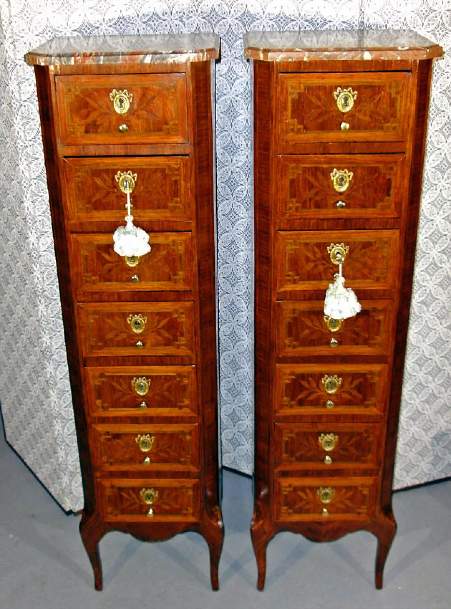 Pair Louis XV style satinwood inlaid chests c1900