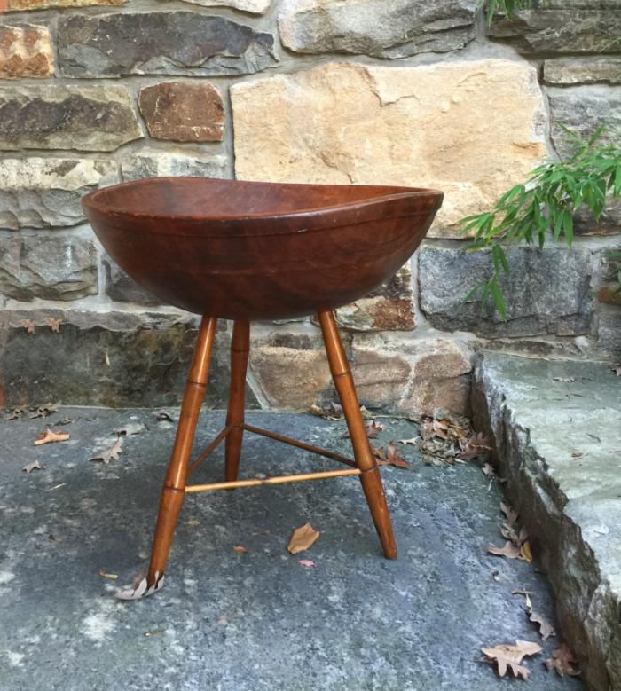Antique early American country wood bowl on stand c1820