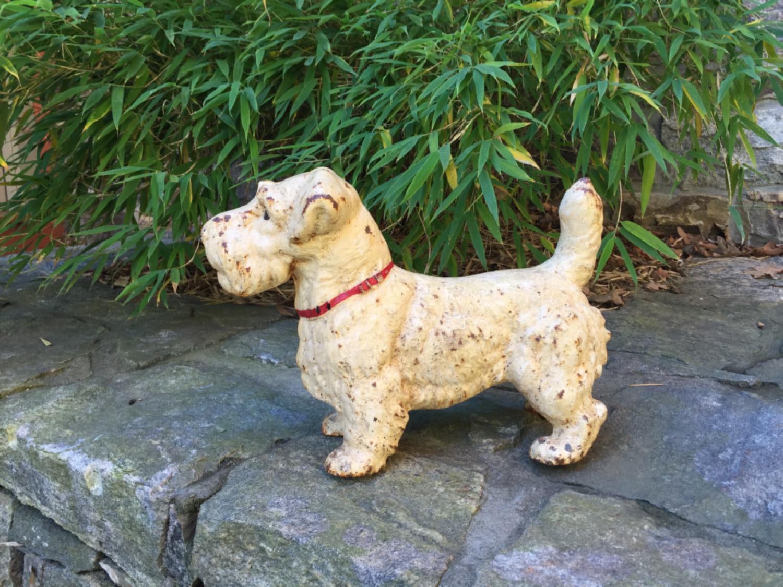 Large antique Sealyham Terrier cast iron door stop
