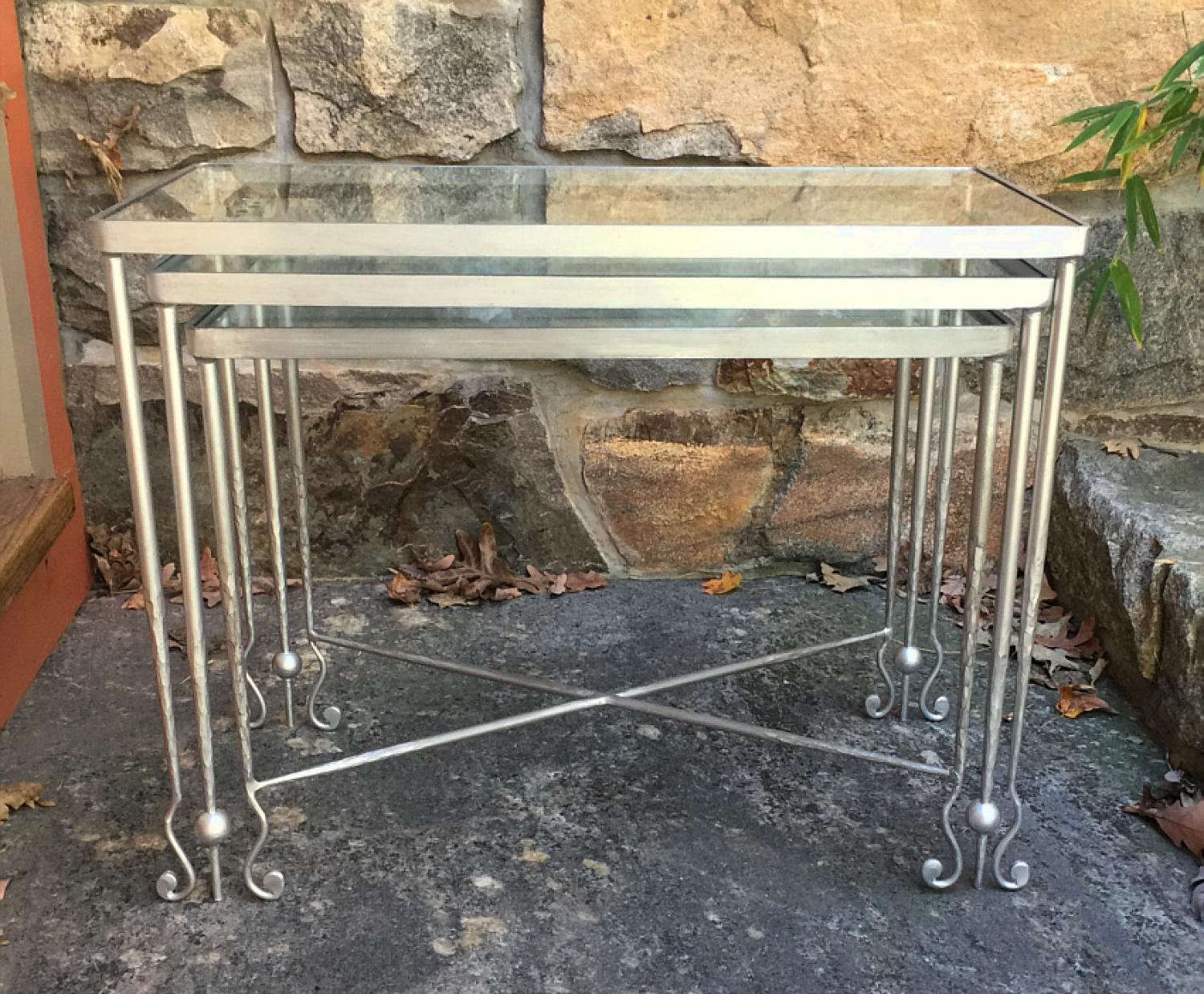 Contemporary artisan made silvered iron stacking tables